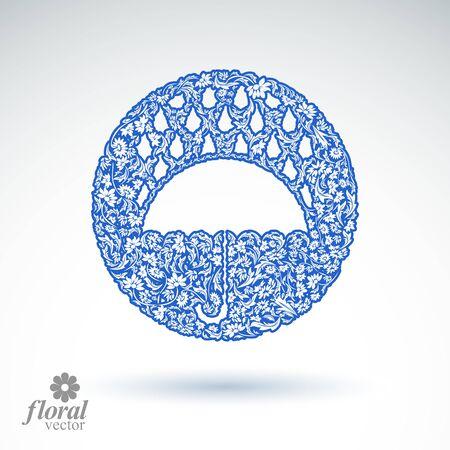 parasol: Beautiful flower-patterned umbrella under rain drops. Stylized accessory - parasol, rainy weather graphic icon.