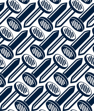 3d nails symmetric vector seamless pattern. Carpentry theme components. Repair idea backdrop with three-dimensional monochrome symbols.