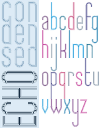 echo: Poster bright echo condensed font, striped compact light lowercase letters on white background.
