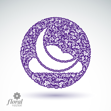 lullaby: A New Moon with a cloud beautiful art illustration, floral lullaby conceptual icon – nighttime symbol. Floral-patterned moony night abstraction.