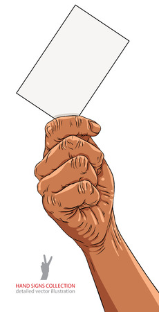 advertize: Hand with business card, African ethnicity, detailed vector illustration. Illustration