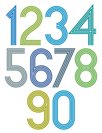 Poster rounded big bright numbers with stripes on white background.