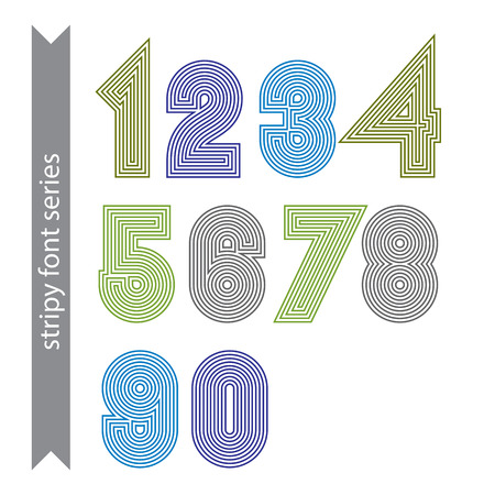 parallel: Geometric numbers made with parallel straight lines. Light contemporary vector numeration, bright poster digit sequence. Illustration