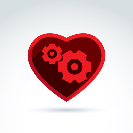 moving in: Vector illustration of a red mechanical heart. Love machine icon. Gears and moving parts placed in a heart.