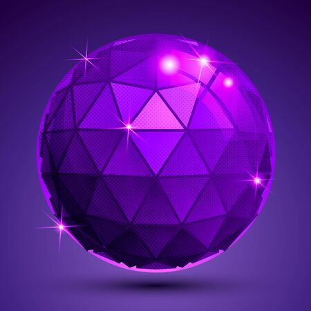 synthetic: Bright textured plastic spherical object with flashes, pixilated synthetic globe created from triangles. Illustration