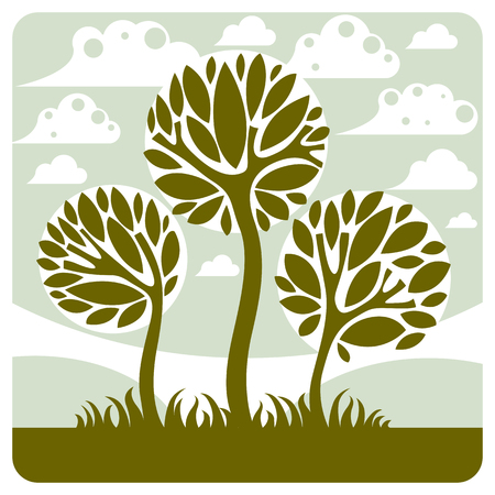 peaceful scene: Fantasy landscape with stylized tree, peaceful scene. Season theme vector illustration, ecology idea image.