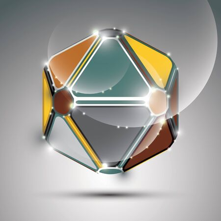 mirror ball: Abstract 3D metal festive sphere with sparkles, bright glossy mirror ball created from triangles, disco theme. Illustration