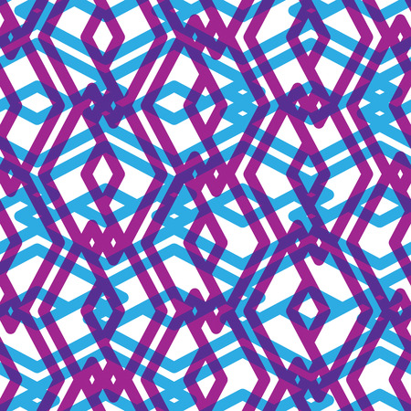 intertwine: Seamless pattern with intertwine rhombs, colorful infinite geometric ornament textile, abstract vector visual covering with multiple layers. Illustration