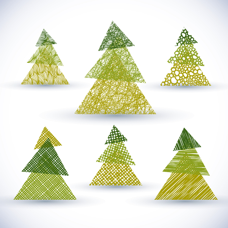 christmass: Christmass tree vector set, hand drawn lines textures used.