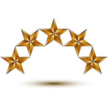 estrellas cinco puntas: Vector 3d s�mbolo real cl�sico, sofisticado ronda de oro 5 estrellas aisladas sobre fondo blanco, elemento aurum brillante. Vectores