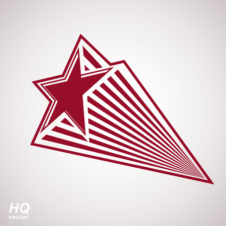 superstar: Astronomy conceptual illustration, pentagonal comet star - celestial object with decorative comet tail. Eps8 superstar icon. Armed forces design element isolated on white background.