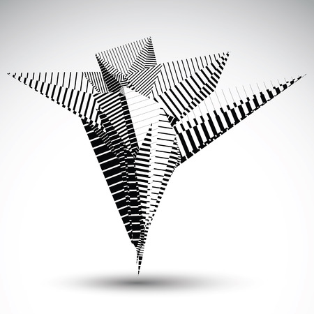 asymmetric: Complicated contrast eps8 element constructed from geometric figures with parallel lines. Asymmetric striped sharp object for technology projects. Illustration