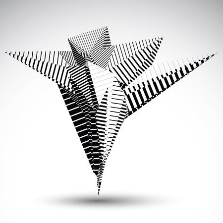 Complicated elemento de contraste eps8 construido a partir de figuras geométricas con líneas paralelas. Asimétrica objeto punzante rayado para proyectos de tecnología. Ilustración de vector