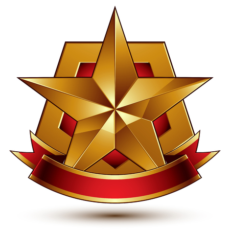 blazon: 3d golden heraldic blazon with red filling and glossy pentagonal star, best for web and graphic design, clear EPS 8 vector. Decorative coat of arms with red wavy ribbon, defense symbol. Illustration