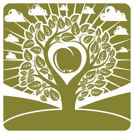 fertility: Vector illustration of tree with leaves and branches in the shape of heart with an apple inside placed on landscape with clouds and stylized sun. Fruitfulness and fertility idea symbolic picture.