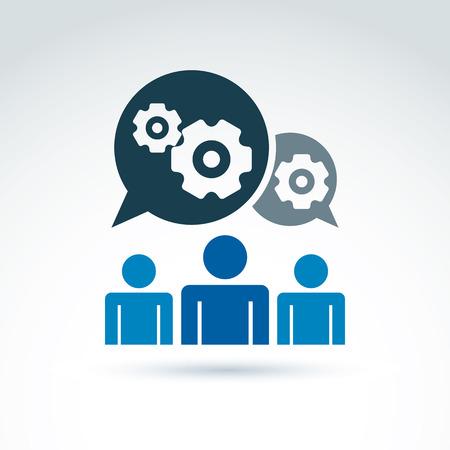 Przekładnie i koła zębate pracujące Team System motyw ikon, dialog i wiadomość, wektor koncepcyjne stylowy symbol dla swojego projektu. Ilustracje wektorowe