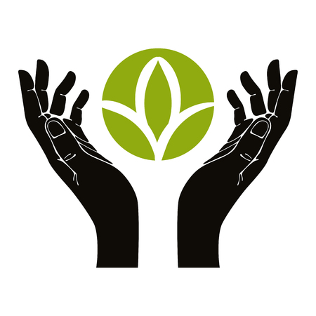 protect safety: Hands with leaf vector symbol.
