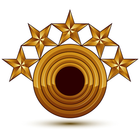 sophisticated: Sophisticated vector emblem with 5 golden stars, 3d decorative design element with black copy space, clear EPS 8.