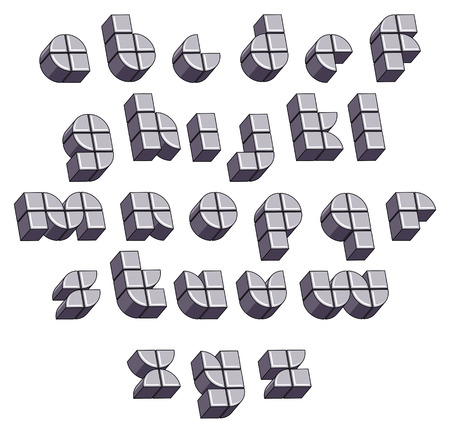 verbs: 3d futuristic round font made with blocks, monochrome dimensional alphabet, geometric letters for design.
