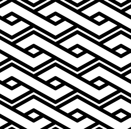 interlace: Black and white abstract textured geometric seamless pattern. Symmetric monochrome vector textile backdrop. Splicing lines.