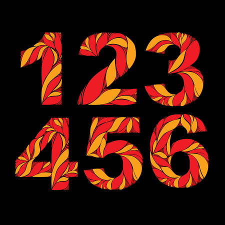 3 4: Autumn style orange floral numbers, decorative fiery digits with vintage pattern. 1, 2, 3, 4, 5, 6. Illustration