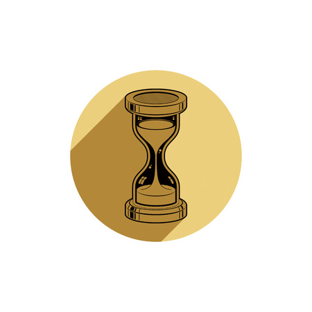interim: Old-fashioned simple vector 3d hourglass, time management business icon. Time is running out conceptual symbol.