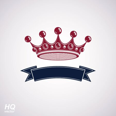 undulate: Vector imperial crown with undulate ribbon. Classic coronet with decorative curvy band. King regalia design element isolated on white background.