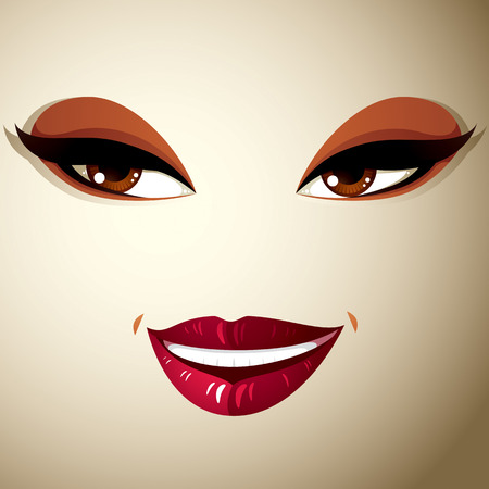 coquete: Coquette glad woman eyes and lips, stylish makeup. People positive facial emotions, happiness.