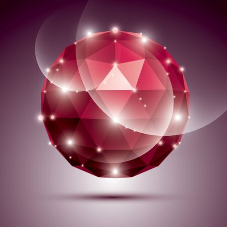 ruby gemstone: Abstract 3D ruby gala sphere with gemstone effect, red glossy orb created from triangles, eps10.