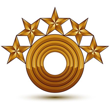 estrellas cinco puntas: heráldico plantilla de vectores con estrellas de oro de cinco puntas y una copia espacio, dimensiones medallón geométrica real aislado en el fondo blanco.