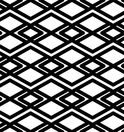 intertwine: Black and white abstract textured geometric seamless pattern. Symmetric monochrome vector textile backdrop. Intertwine rhombs.