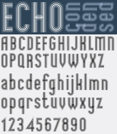 illusory: Illusory condensed black and white font and numbers, echo striped poster letters.