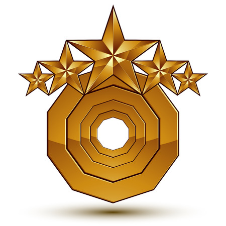 aristocratic: Vector classic emblem isolated on white background. Aristocratic golden stars, clear EPS 8.