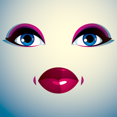 countenance: Attractive woman with stylish bright make-up. Sexy Caucasian sad lady. Human eyes and lips reflecting emotions.