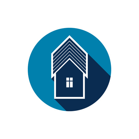 depiction: Real estate icon isolated on white, abstract house depiction. Property developer vector symbol, conceptual sign, best for use in advertising