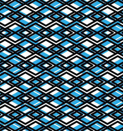 intertwine: Geometric lined seamless pattern, colorful vector endless background. Symmetric decorative motif texture with intertwine rhombs created from black lines. Blue layered ornate covering, best for web and graphic design.