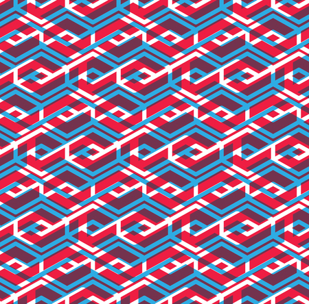 intertwine: Seamless pattern with parallel intertwine rhombs, colorful infinite geometric ornament textile, abstract vector textured visual covering with multiple layers.