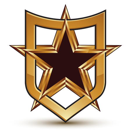 renowned: Renowned vector golden star emblem placed in a shield, 3d pentagonal refined design element, clear EPS 8.