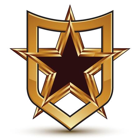 golden star: Renowned vector golden star emblem placed in a shield, 3d pentagonal refined design element, clear EPS 8.