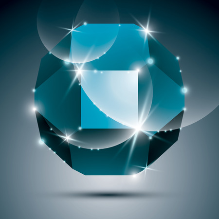 dazzling: Dimensional turquoise sparkling orb. Vector dazzling abstract illustration - eps10 treasure. Celebration theme.
