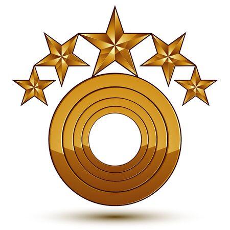 estrellas cinco puntas: Heráldica 3d brillante icono se puede utilizar en diseño web y gráfico, estrellas de oro de cinco puntas, EPS 8 vector claras.