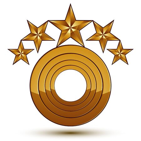 estrellas cinco puntas: Heraldic 3d glossy icon can be used in web and graphic design, five-pointed golden stars, clear EPS 8 vector.