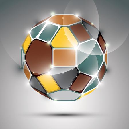 gala: Dimensional sparkling spherical object. Vector abstract gala illustration - eps10 fractal treasure. Celebration theme.