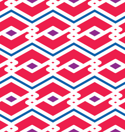 intertwine: Bright endless vector texture, motif abstract contemporary geometric background. Creative symmetric continuous pattern with intertwine rhombs and zigzag lines. Illustration