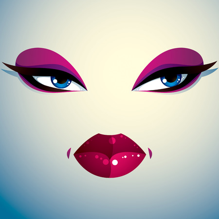 belle dame: Parts of the face of a young beautiful lady with a bright make-up, lips and eyes. People facial expression, angry and tricky woman.