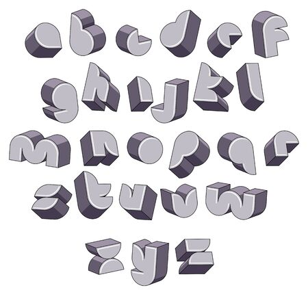 verbs: 3d futuristic round font, monochrome dimensional alphabet, geometric letters for design.
