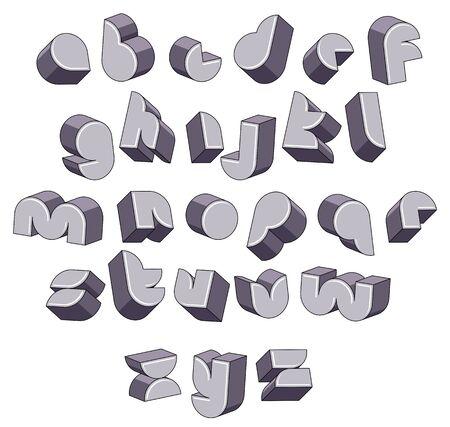 3d futuristic round font, monochrome dimensional alphabet, geometric letters for design.