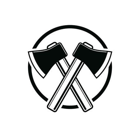 hatchet: Two sharp axes crossed. Woodcutter tool, vector simple hatchet symbol isolated on white. Lumberjack instrument icon, can be used in advertising and design.
