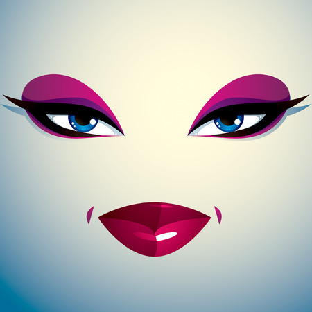 tricky: Coquette woman eyes and lips, stylish makeup. People facial emotions, sly and tricky. Illustration