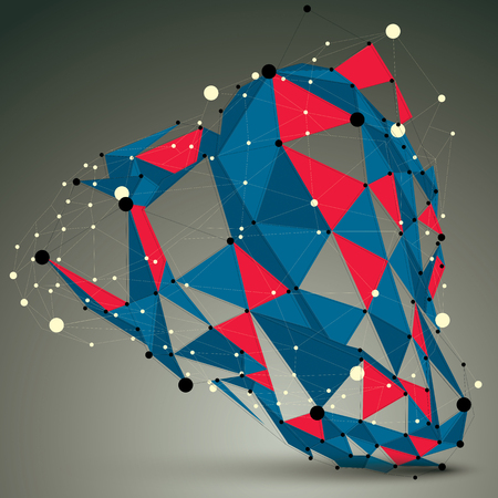 spatial: Spatial vector colorful digital object, 3d technology figure with geometric elements and wireframe. Illustration